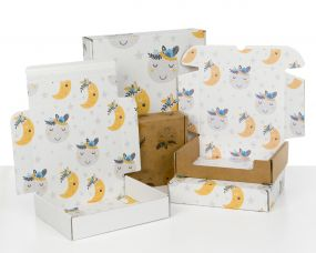 Boxes with Kids Moons Print