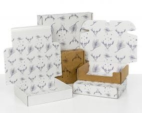 Boxes with Xmas Deer Print