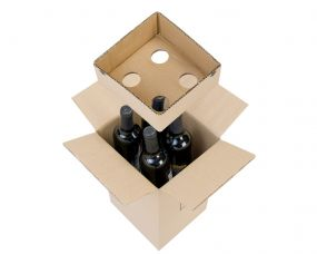 Cardboard Wine Bottle Box - 4 Bottles