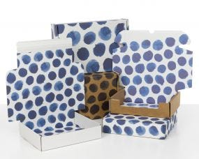 Boxes with Indigo Blue Dots
