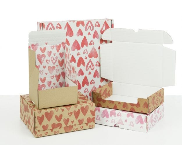 Boxes with Watercolour Hearts Print