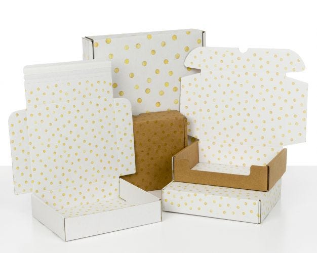 Boxes with Gold Dots Print