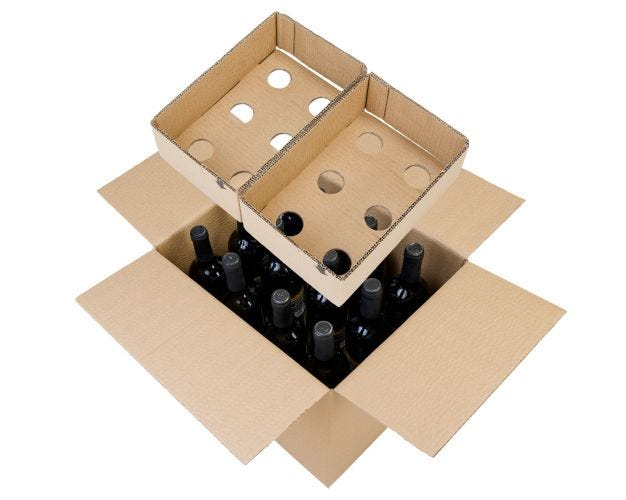 Cardboard Wine Bottle Box - 12 Bottles