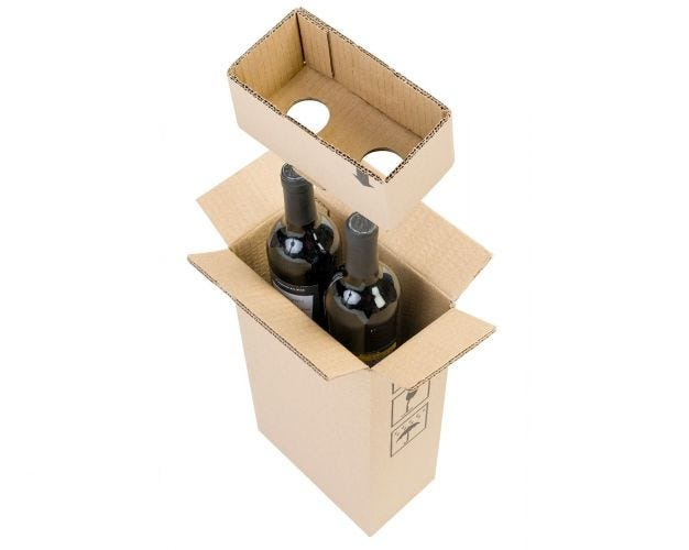 Cardboard Wine Bottle Box - 2 Bottles
