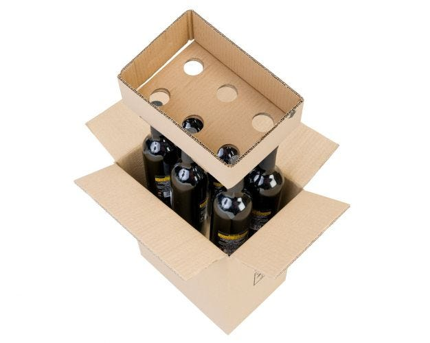 Cardboard Wine Bottle Box - 6 Bottles