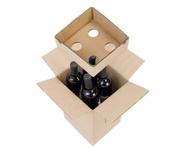 Cardboad Wine Boxes - 4 Bottles