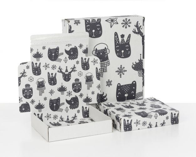 Boxes with Xmas Kids Print
