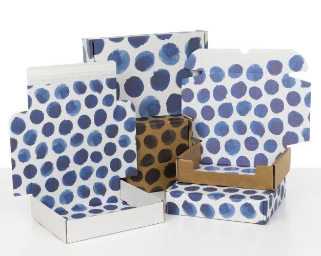 Boxes with Indigo Blue Dots